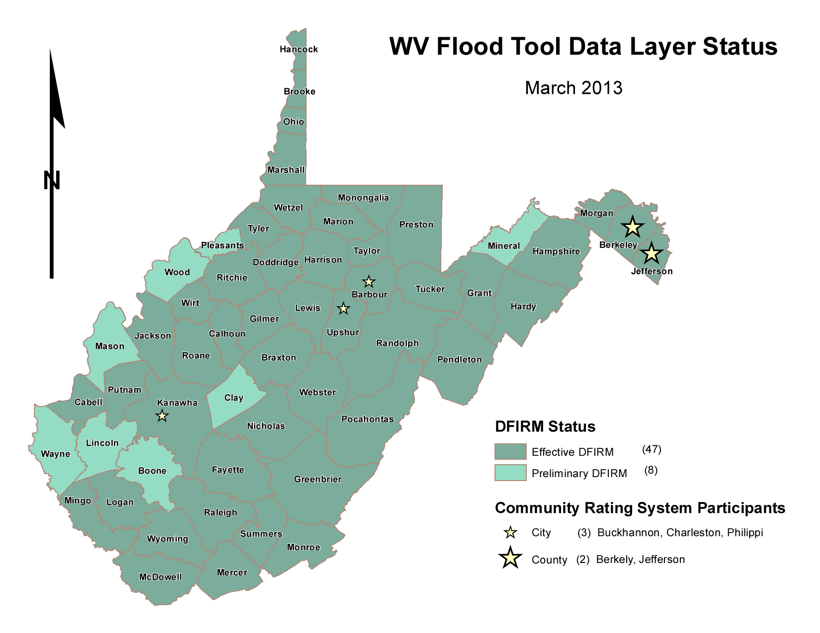 WVGISTC GIS Data Clearinghouse - Map of west virginia with counties and cities